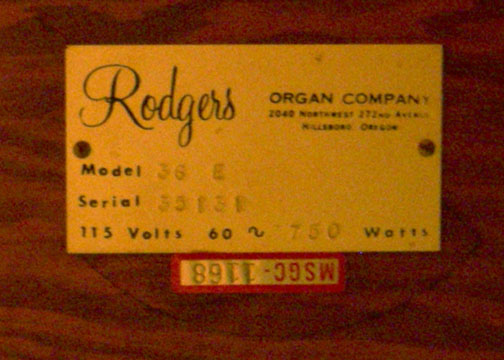Rogers Organ Label